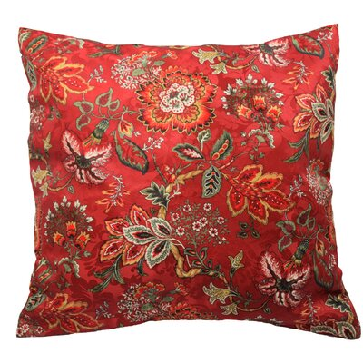 Navarra Floral Decorative Throw Pillow Color: Crimson