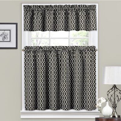 Ellis 56 Valance and Tier Set Color: Onyx