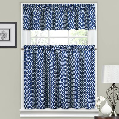 Ellis 56 Valance and Tier Set Color: Indigo