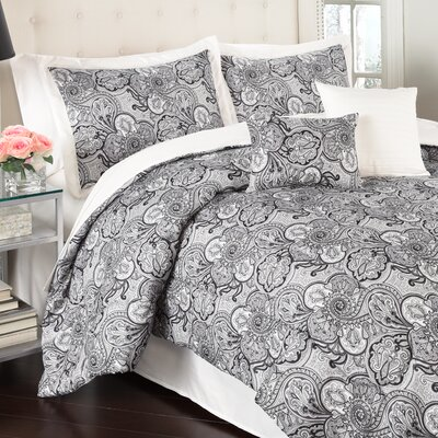 Paddock Shawl 6 Piece Reversible Comforter Set Color: Ivory, Size: King
