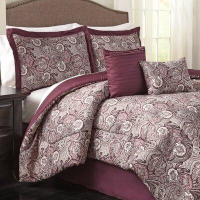 Paddock Shawl 6 Piece Reversible Comforter Set Color: Plum, Size: King