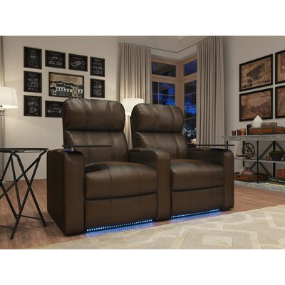 Octane Seating - Turbo XL700 2-Seat Straight Power Recline Home Theater Seating - Brown TURBO-R2SP-LM-BR