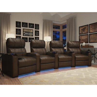 Octane Seating - Turbo XL700 4-Seat Curved Power Recline Home Theater Seating - Brown TURBO-R4CP-LM-BR