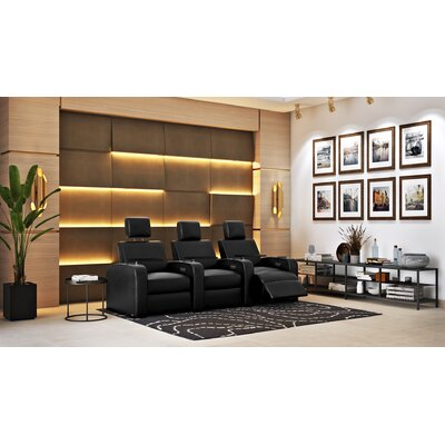 Power Recline Leather Home Theater Sofa (Row of 3)