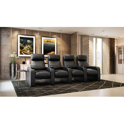 Leather Manual Rocker Recline Home Theater Row Seating (Row of 4)