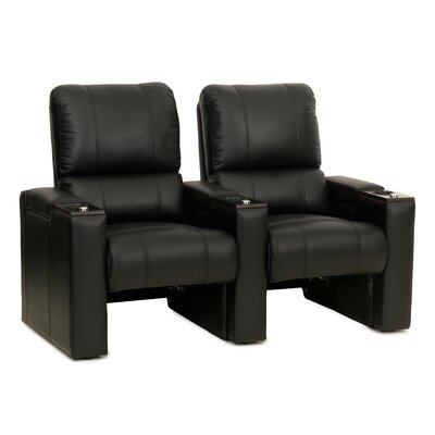 Bonded Leather Manual Rocker Recline Home Theater Row Seating (Row of 2)