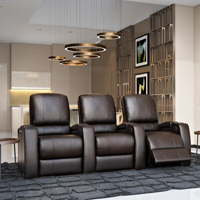 Storm XL850 Home Theater Lounger (Row of 3) Color: Brown, Type: Power