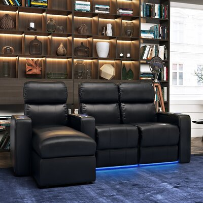 Upholstered Leather Home Theater Sofa (Row of 3)