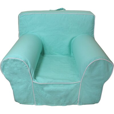 Kids Box Cushion Armchair Slipcover Color: Aqua/White