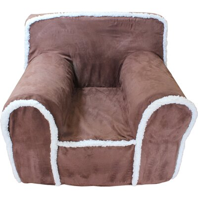 Kids Arm Chair Slipcover Color: Chocolate/White