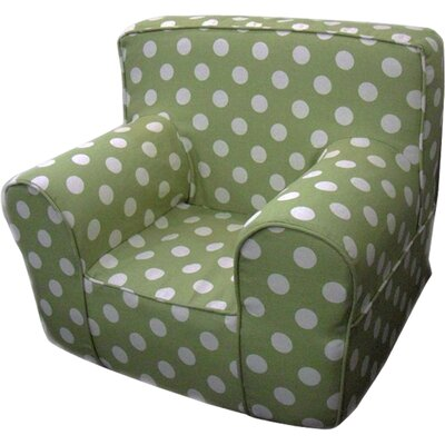 Kids Arm Chair Slipcover Color: Green/White