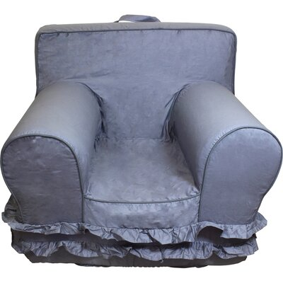Kids Arm Chair Slipcover Color: Gray/White