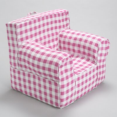 Kids Arm Chair Slipcover Color: Pink/White
