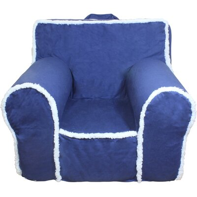 Kids Arm Chair Slipcover Color: Blue/White