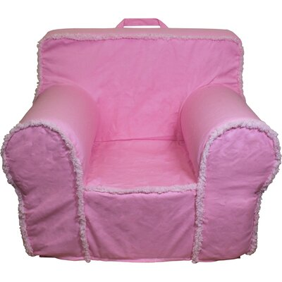 Kids Box Cushion Armchair Slipcover Color: Pink/White
