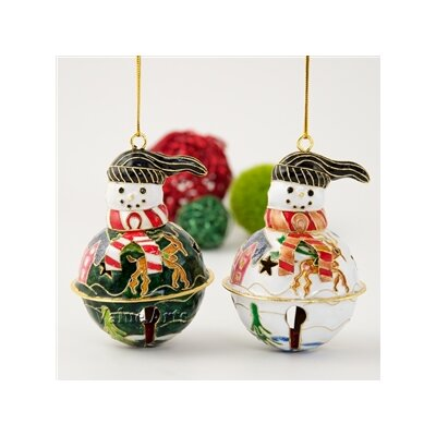 Cloisonne 4 Piece Snowman Sleigh Bell Ornament Set (Set of 4) 2210E4