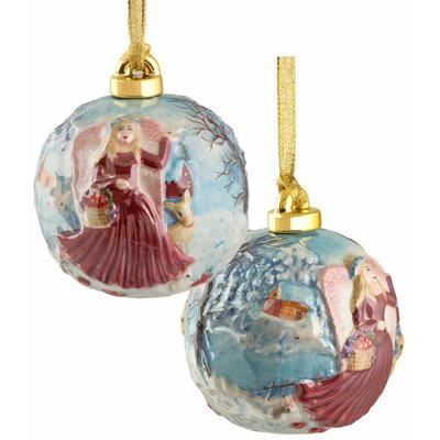 Hand Sculptured and Painted Angel Porcelain Ornament
