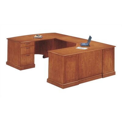Belmont U-Shape Corner Executive Desk with Right Return Finish: Executive Cherry, Orientation: Right Product Image 3