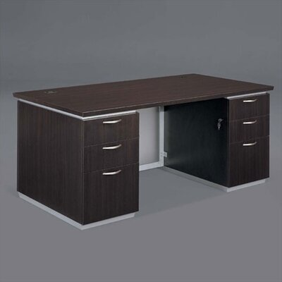 Pimlico Double Pedestals Executive Desk Finish: Mocha Laminate, Size: 30 H x 70 W x 24 D