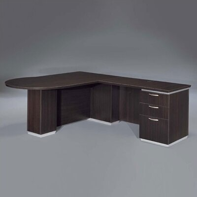 Pimlico Right Peninsula L-Shape Peninsula Executive Desk Finish: Mocha Laminate, Orientation: Left