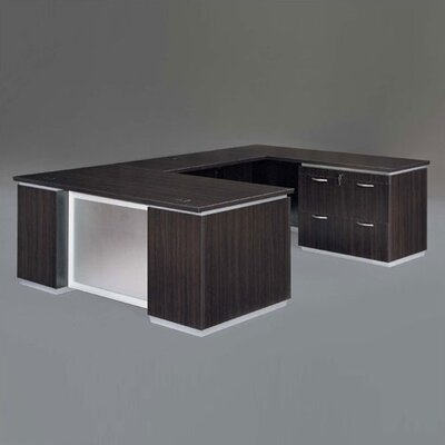 Pimlico Lateral File U-Shape Executive Desk Finish: Mocha Laminate Product Image 38