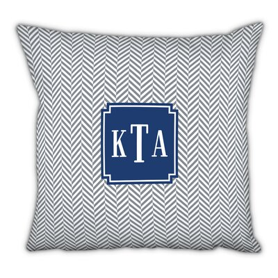 Herringbone Classic Monogram Cotton Throw Pillow