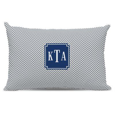 Herringbone Classic Monogram Cotton Lumbar Pillow