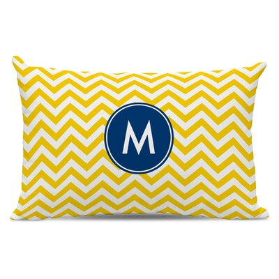 Chevron Single Initial Cotton Lumbar Pillow Letter: W