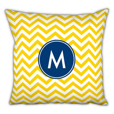 Chevron Single Initial Cotton Throw Pillow Letter: W