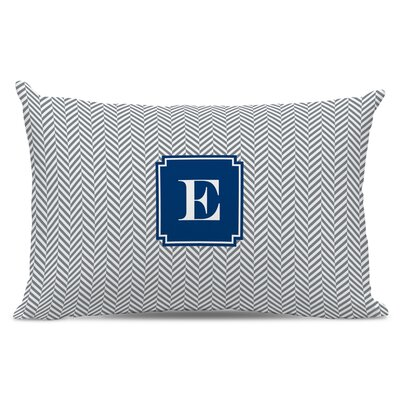 Herringbone Single Initial Cotton Lumbar Pillow Letter: R