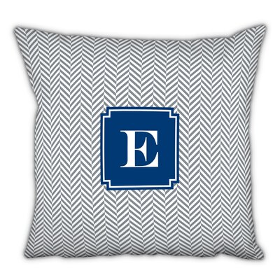 Herringbone Single Initial Cotton Throw Pillow Letter: J
