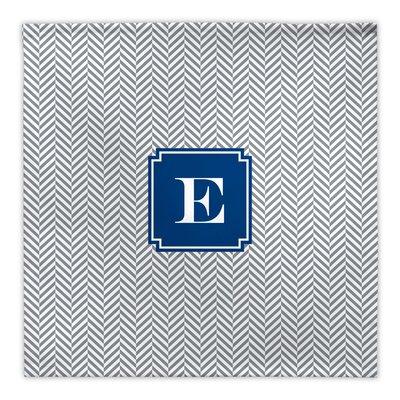 Herringbone Single Initial Fabric Napkin Letter: I