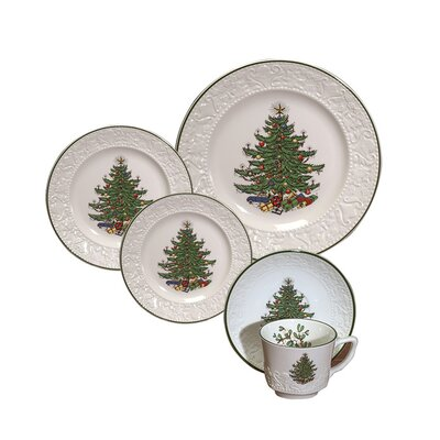 Original Christmas Tree Dickens Embossed 20 Piece Place Setting Set THLA5710 40213860