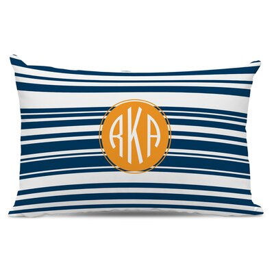 Block Island Circle Monogram Cotton Lumbar Pillow