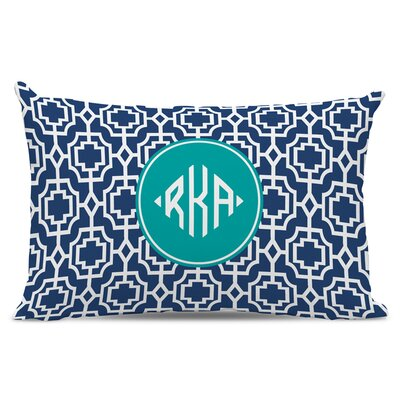 Designer Lattice Diamond Monogram Cotton Lumbar Pillow