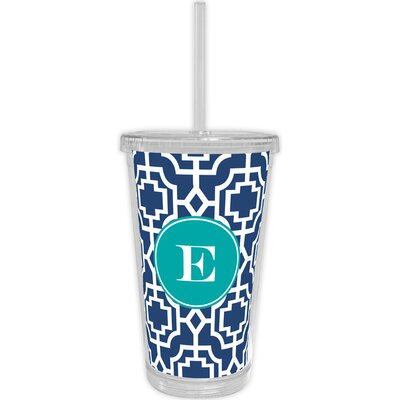 Designer Lattice Single Initial Beverage Tumbler Letter: J WFBVT06-SI-W-j