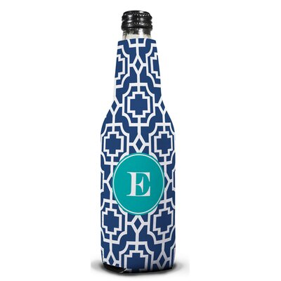 Designer Lattice Single Initial Bottle Koozie Letter: E