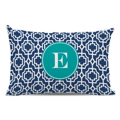 Designer Lattice Single Initial Cotton Lumbar Pillow Letter: E