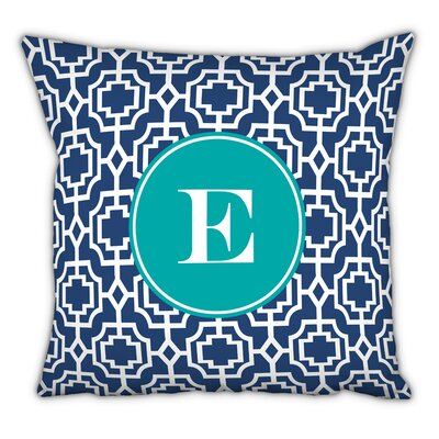 Designer Lattice Single Initial Cotton Throw Pillow Letter: E