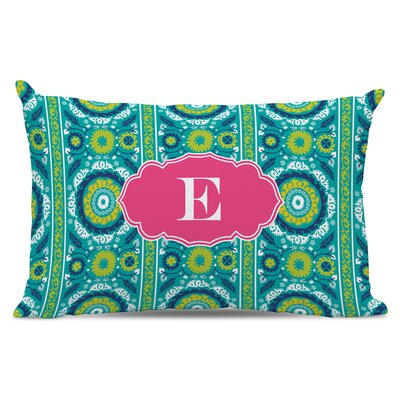 Suzani Single Initial Cotton Lumbar Pillow Letter: P