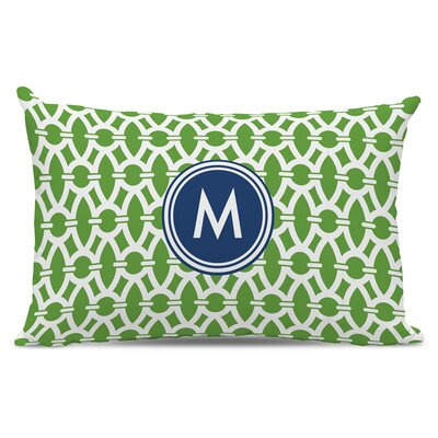Trellis Single Initial Cotton Lumbar Pillow Letter: M