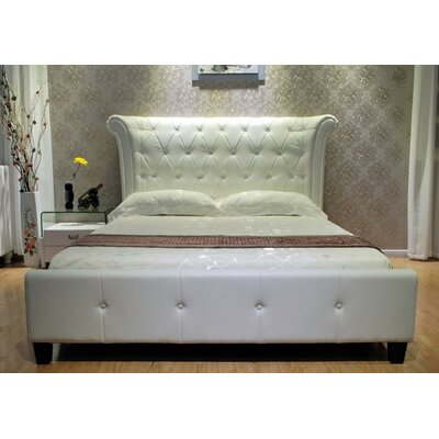 Upholstered Panel Bed Upholstery: White, Size: Queen
