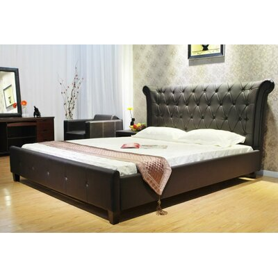 Upholstered Panel Bed Size: King, Color: Dark Brown