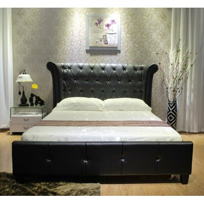 Upholstered Panel Bed Size: California King, Upholstery: Black