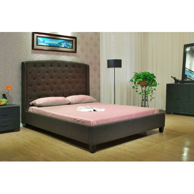 Queen Upholstered Panel Bed Upholstery: Chocolate