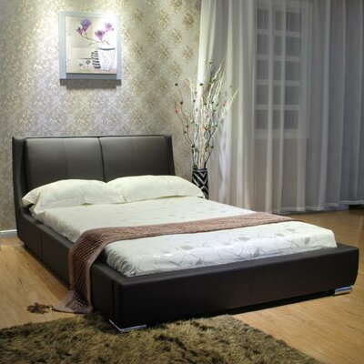 Upholstered Platform Bed Size: King, Color: Dark Brown