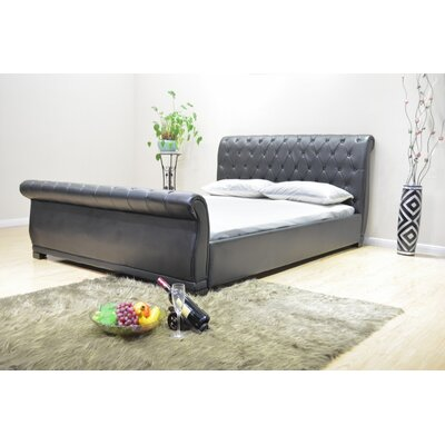 Queen Upholstered Sleigh Bed Upholstery: Black