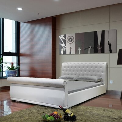 Queen Upholstered Sleigh Bed Color: White