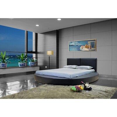 Lura Queen Upholstered Platform Bed Color: Black