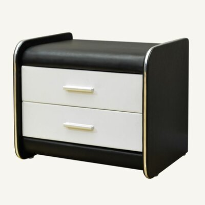 2 Drawer Nightstand Color: Black / White